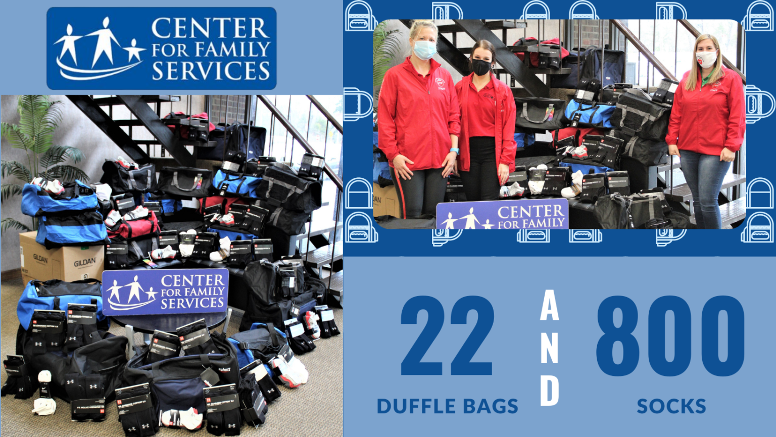 Jaws Youth Playbook Donates Duffle Bags to the Center for Family Services