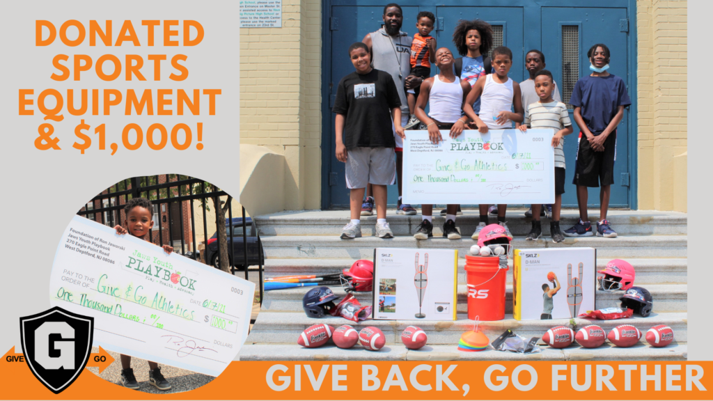 Jaws Youth Playbook Advocates for $1,000 Grant for Give andnd Go Athletics and Matches Donation