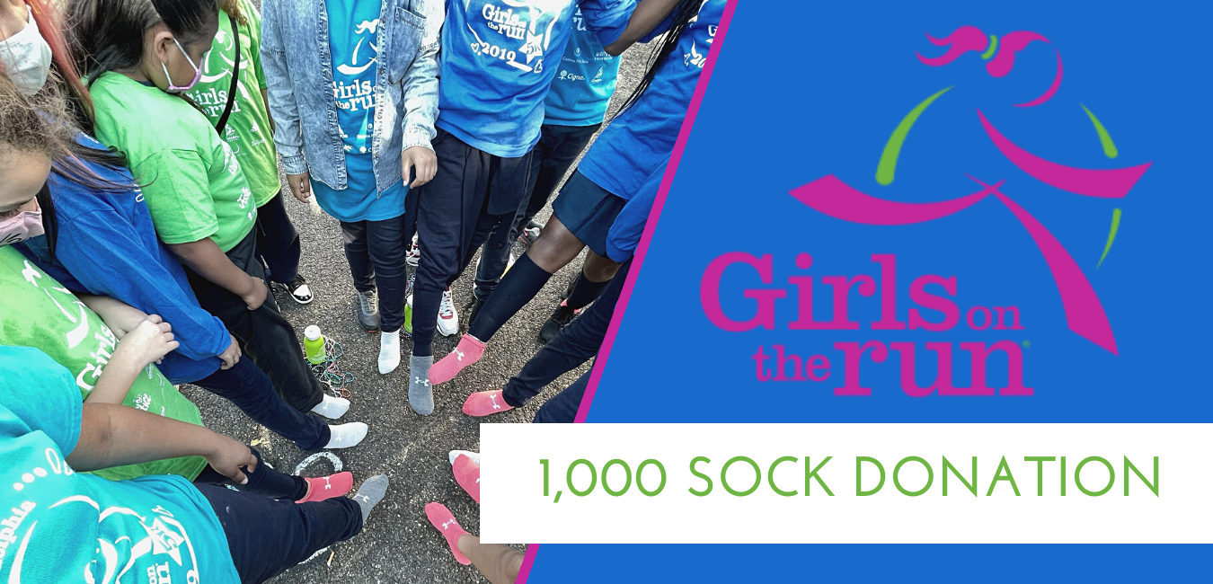 Ron Jaworski and Jaws Youth Playbook provides 1,000 new Under Armour Socks for Girls on the Run in Philadelphia